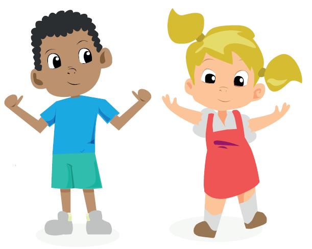 illustration happy children playing